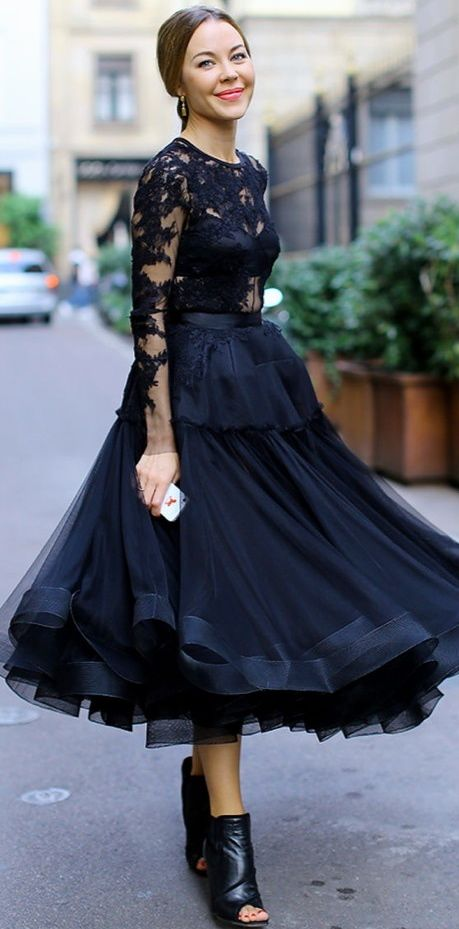 Black Tulle Skirt & Lace Top