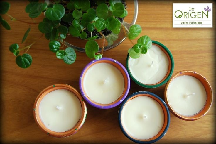 Eco-velas De Origen aromáticas y coloridas. De Origen Colorful and aromatic eco-candles.