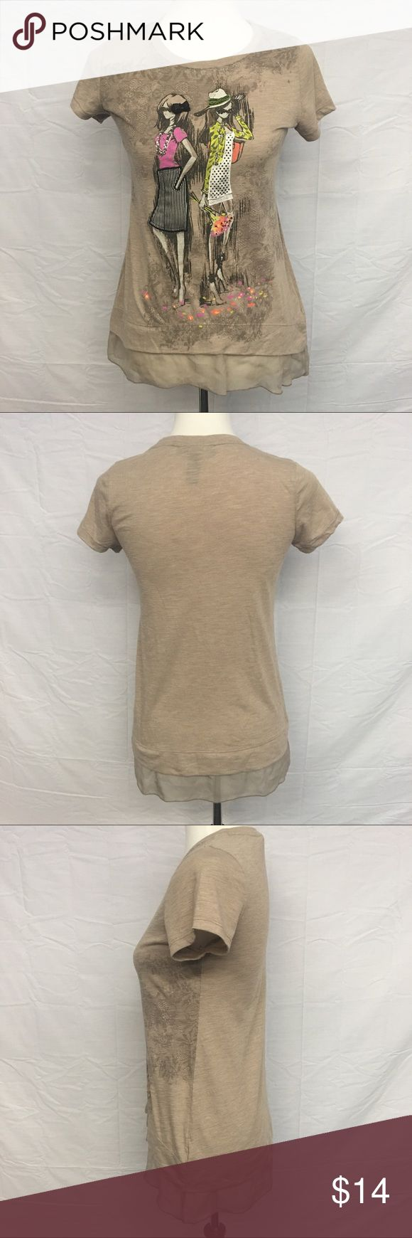 "Style & Co. Embellished Tee Super cute Style & Co. embellished tee! This adorable tee would look great with leggings, skirts, jeans, and shorts! You could dress it up or go casual! Light brown with a sheer ruffle on the bottom hem. Rhinestone's decorate the ladies clothes and flowers:) Very colorful and unique!! Like new condition, never worn. Measurements are: Bust 17""  Waist 17""  Length 27 1/2""  From a smoke and pet free home. Style & Co Tops Tees - Short Sleeve"