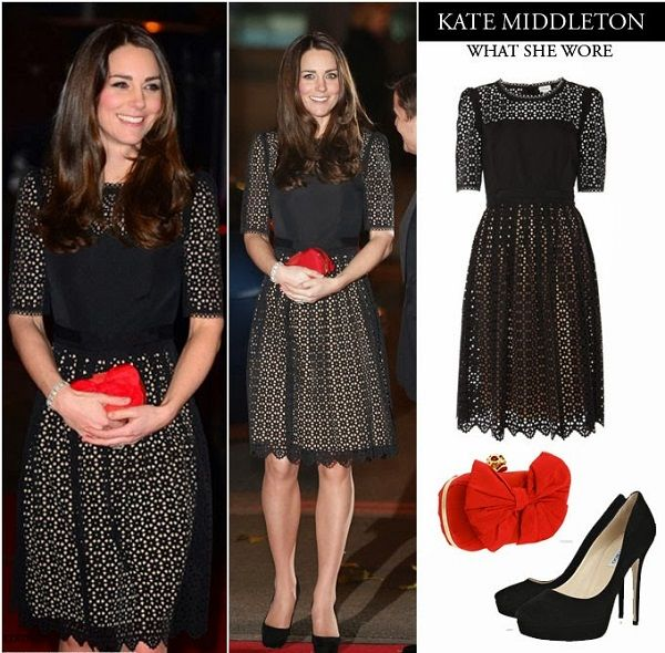 Черное кружевное платье Кейт Миддлтон, фото.