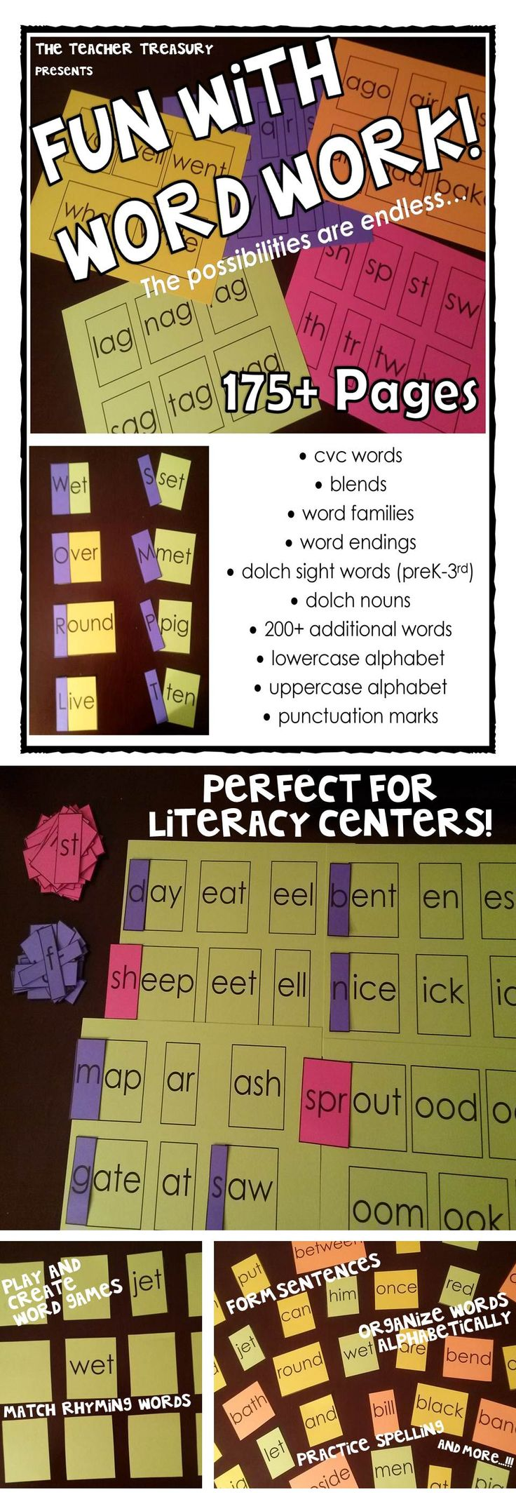 Fun With Word Work! - Phonics and Sight Word Flashcards - Use these 300+ words, blends, word endings, word families and alphabets to form new words, practice spelling, create sentences and much more!