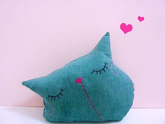 Unfilled Cat Pillow, Decorative Pillow, Throw Pillow, Cat Cushion, Home Decor, Animal Pillow - Sleepy Kitty