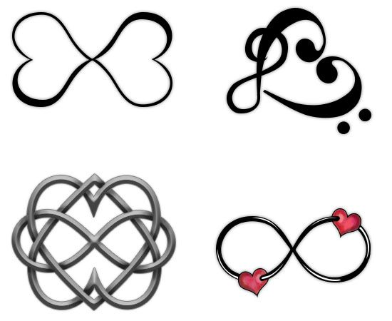 Infinity Symbols Tattoos with Hearts
