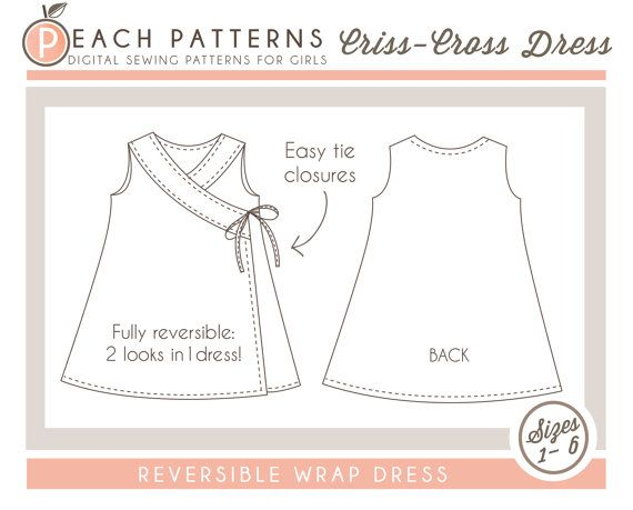 Criss-Cross Reversible Wrap Dress Cross Over Dress INSTANT DOWNLOAD PDF Sewing Pattern for Toddlers and Girls in Sizes 1-6