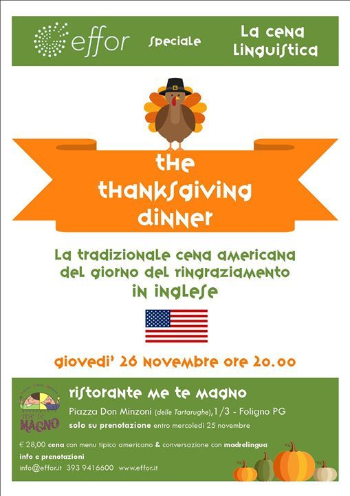THE THANKSGIVING DINNER – Cena linguistica in #Inglese a #Foligno