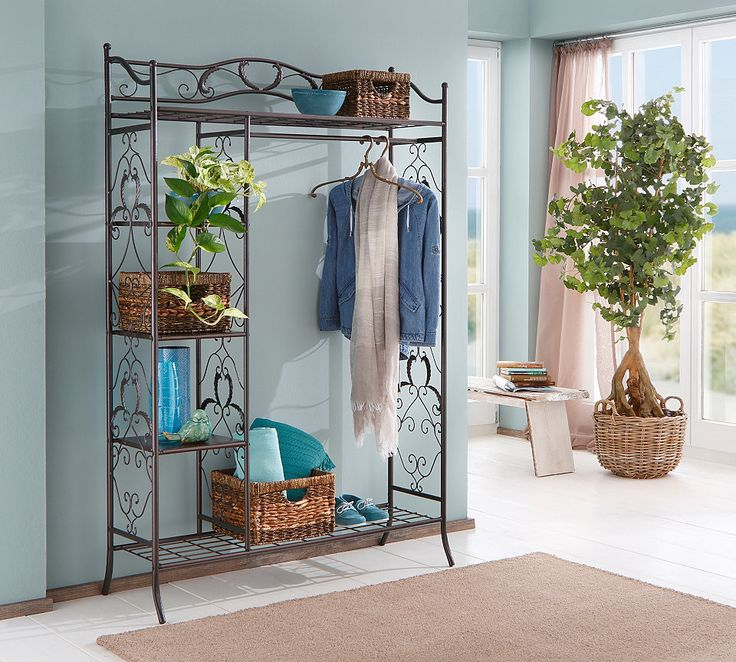 Metallgarderobe, Home affaire für 169,99€. Romantische Garderobe, Gestell aus Metall, Mit schöner Verzierung, Mit Ablageflächen und Kleiderstange bei OTTO