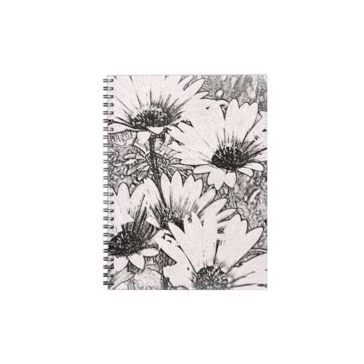 Black and White Floral Notebook