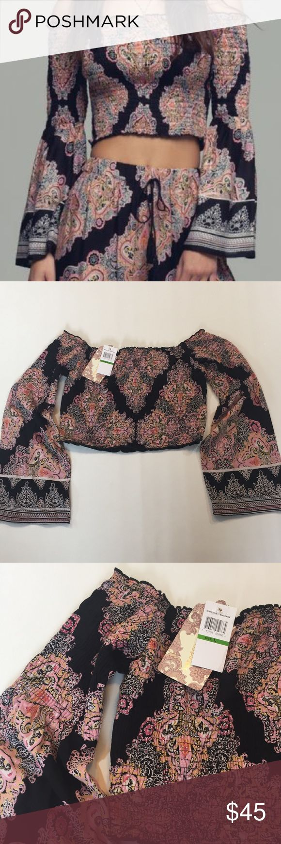 NWT Band of Gypsies cropped off the Shoulder top L NWT Band of Gypsies cropped top L Band of Gypsies Tops Crop Tops
