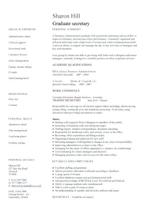 Image result for executive secretary resume sample