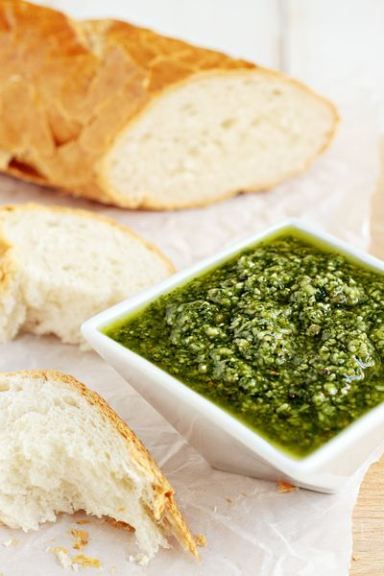 Fresh Basil Pesto.  A simple pesto recipe with fresh basil, garlic, toasted pine nuts, Parmesan cheese and olive oil.