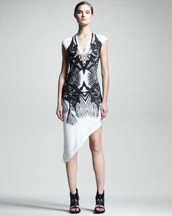 Fish-Print Asymmetric Dress by HELMUT Helmut Lang at Neiman Marcus. >>> Funky! Love it! Only $240!!