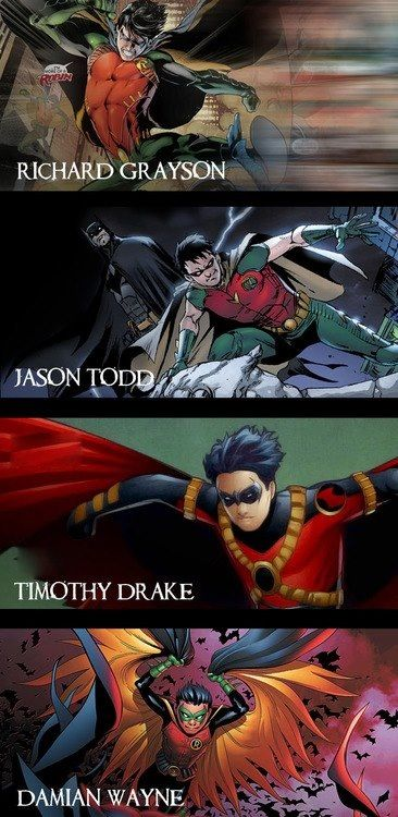 Nightwing, Red Hood, Red Robin, and Robin