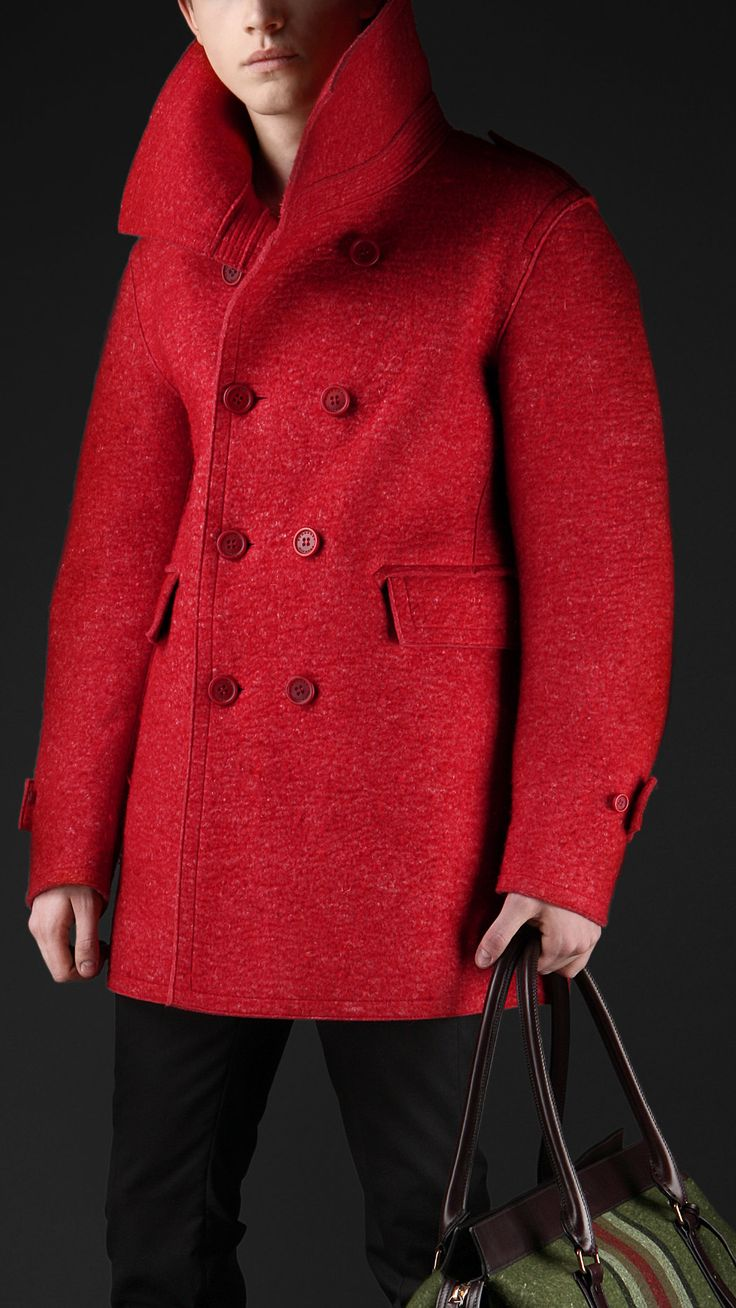 Mens Red Pea Coat Jackets