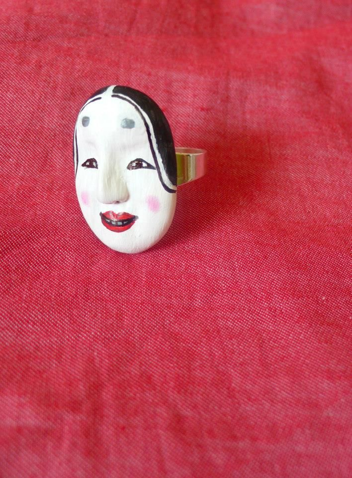 Japanese noh theatre mask ring - Pidlimaja