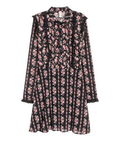 Chiffon jurk met volantrandjes | Zwart/rozen | Dames | H&M NL