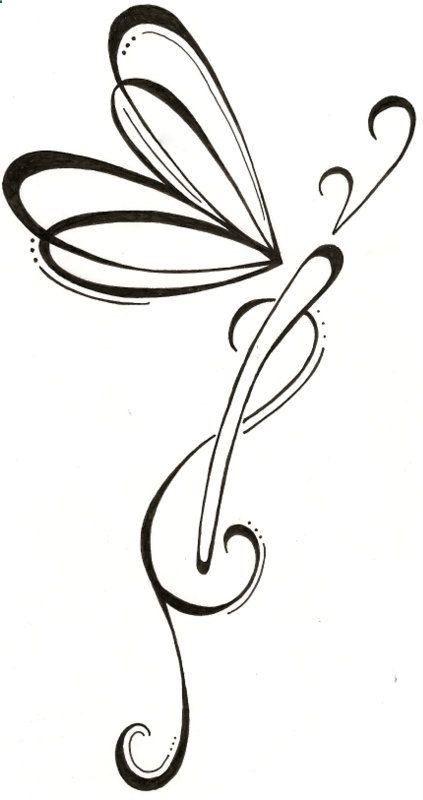 Dragonfly Drawing Original Tattoo via Etsy