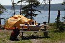 Camping Le Wilcox, île d'Anticosti, superbe emplacement en bord de mer