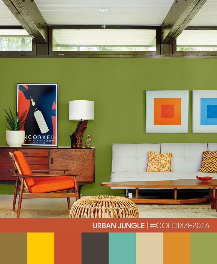Your Living Room Deserves Some Liveliness Decorating Walls Painted In Bold Urban Jungle Color Trend