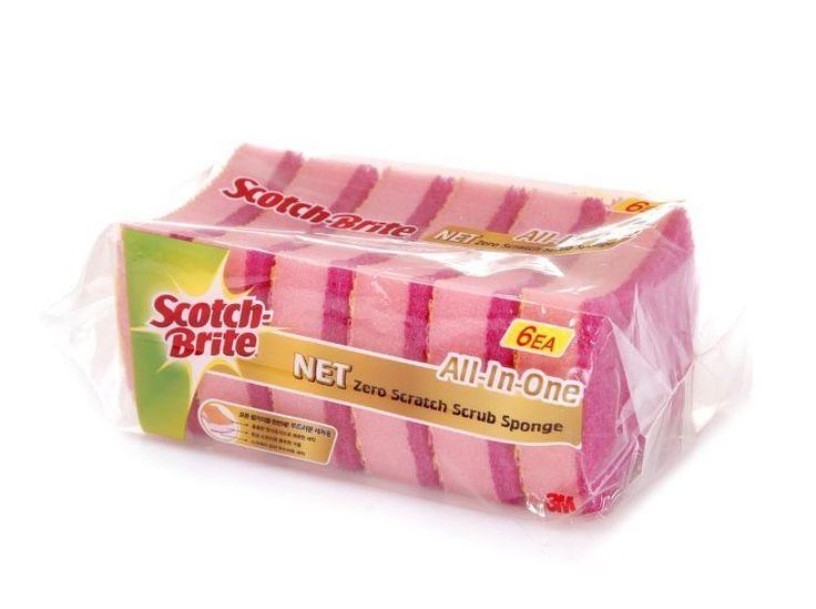 3M Scotch-Brite All In One NET Zero Scratch Scrub Sponge 6pcs, Made in Korea #3M
