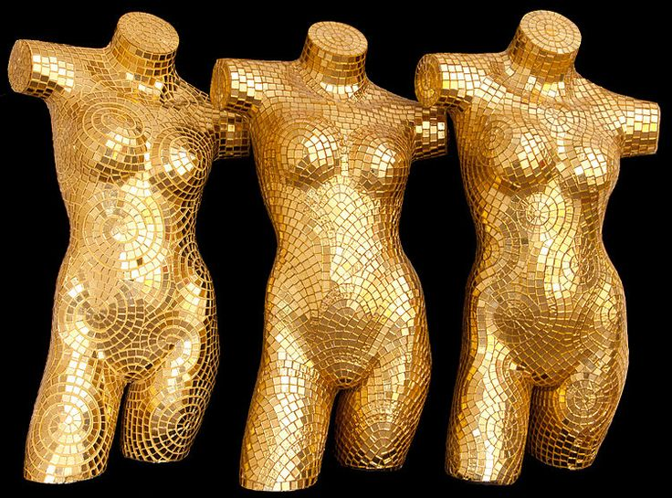 BellaVetro golden mosaic mannequins; chic accent pieces in high-fashion stores or on the runway