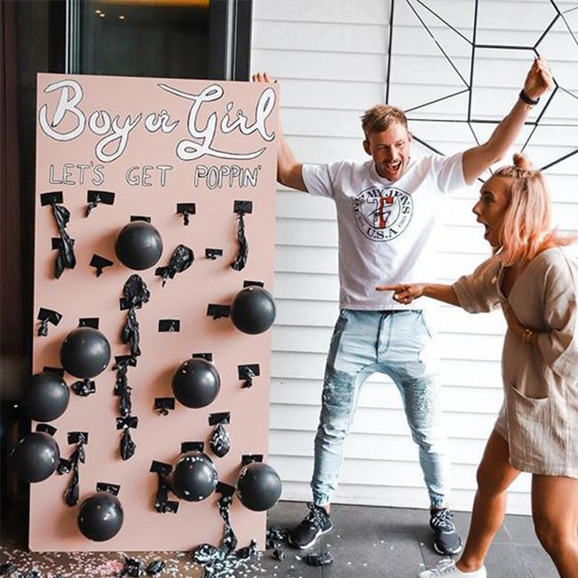10 Fun Gender Reveal Ideas Inspired By This Baby Reveal Party Baby Gender Reveal Party Baby Shower Gender Reveal