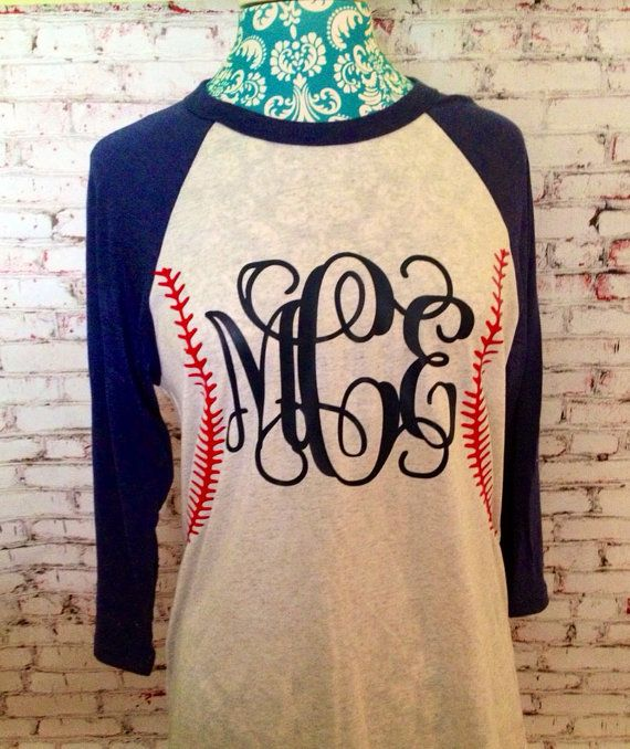 BASEBALL MOM monogram baseball stitching shirt.Raglan 3/4 sleeve shirt.Vinyl Heat Transfer. Baseball Monogram Shirt. Baseball softball on Etsy, $26.00