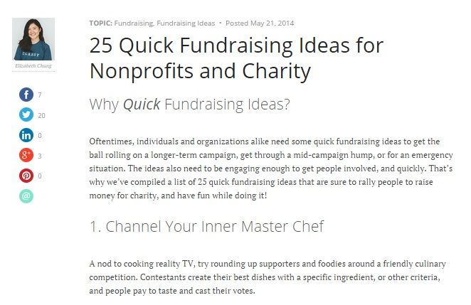 We've compiled a list of 25 quick fundraising ideas that are sure to rally people to raise money for charity, and have fun while doing it! See the full blog post: http://www.classy.org/blog/25-quick-fundraising-ideas-for-nonprofits-and-charity/