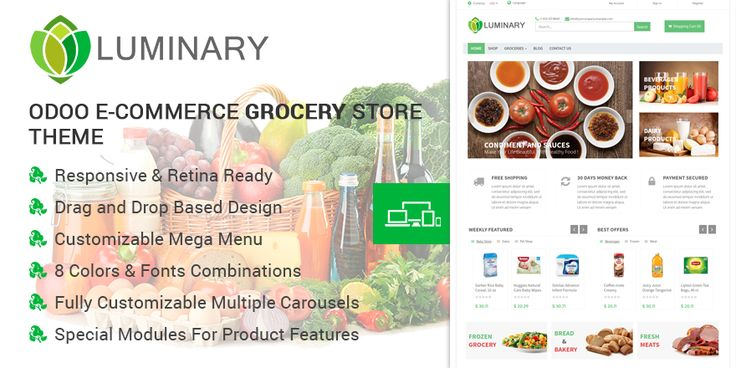 Luminary #Odoo #Theme illuminates the grocery market with its preference. Give your online presence a great start with the theme full of features and functionality.