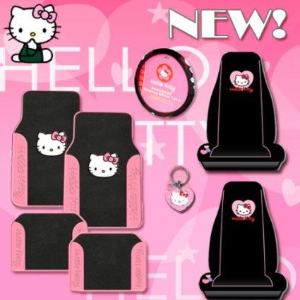 Hello Kitty Car Accessories Seat Covers Floor Mats Steering Wheel Cover Key
