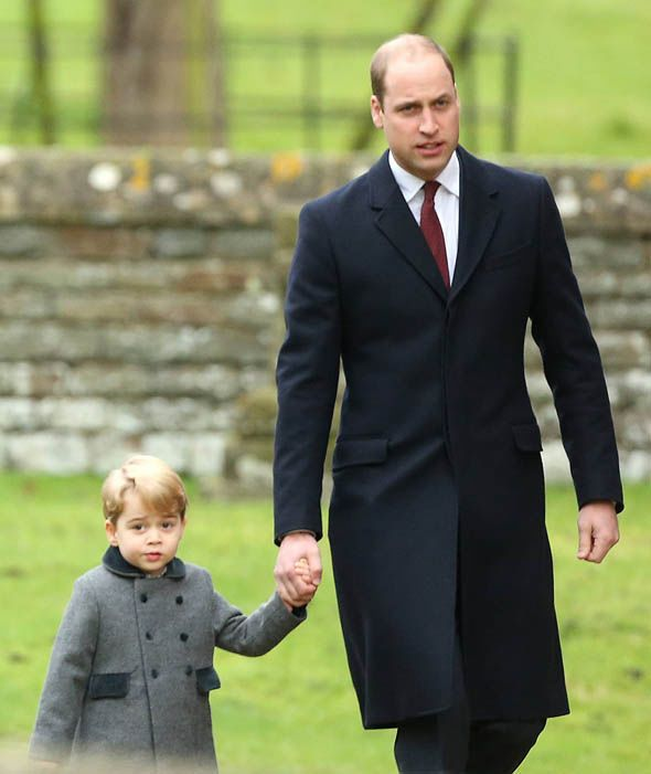 Prince William and Prince George, Christmas Day, 2016.