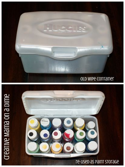 Creative Mama on a Dime: Repurposing Old Baby Wipe Containers