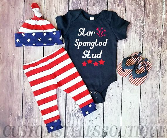 Baby Boys First 4th Of July OutfitNavy by CustomStylesBoutique