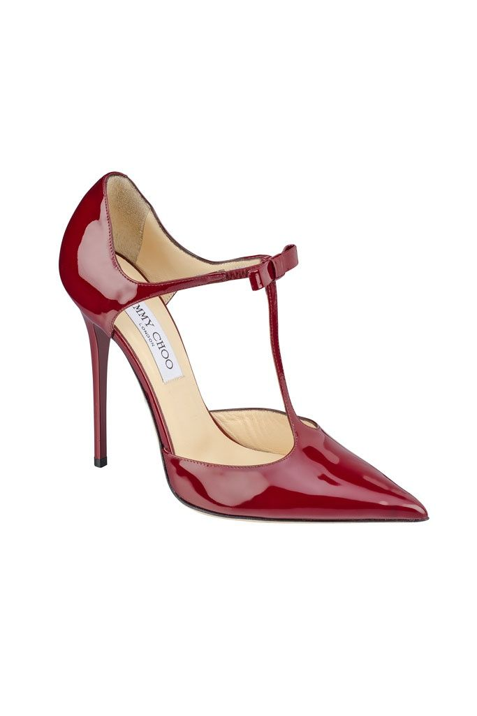 Emmy DE * Jimmy Choo F/W 2013 red patent leather t-strap bow pumps