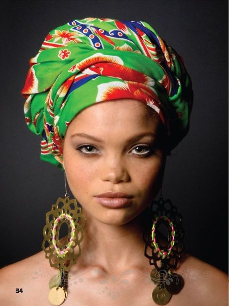 Love the head wrap and the earrings....gorgeous Carmen Solomons