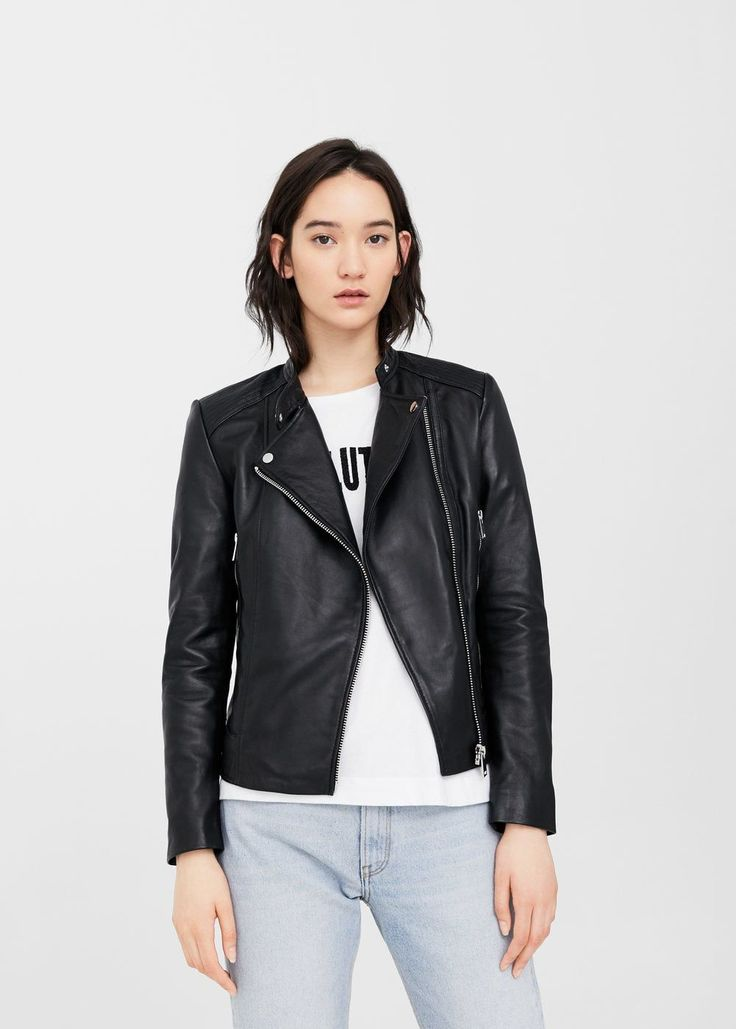 Zip leather jacket - Plus sizes | Violeta by MANGO USA