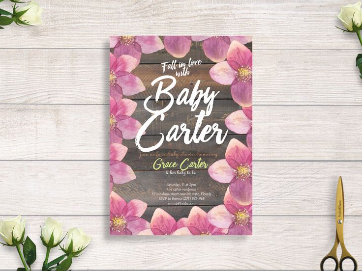 fall in love baby shower,  baby shower boho,  floral baby shower invitation, baby shower invite, wood and flower baby shower #BBS218 by BRIDETALKpaperie on Etsy