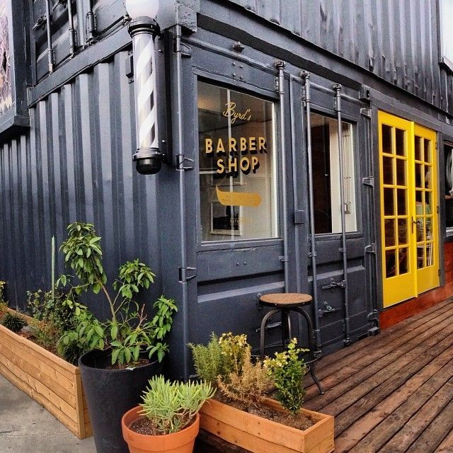 barber shop housed in a shipping container:
