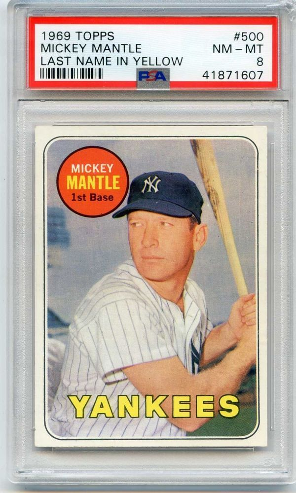 1969 Topps 500 Mickey Mantle Psa 8 Nmmt Yankees All Time Hall Of Fame Great Mickey Mantle Old Baseball Cards Baseball Cards