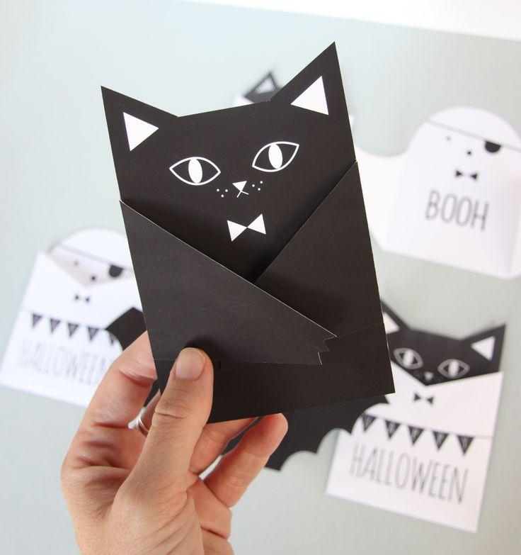 """Carte """"à bras"""" en forme de chat et sa pochette - tutoriel"""