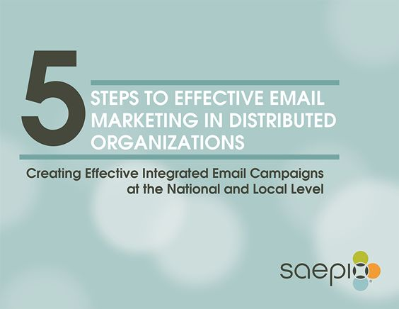 Corporate marketers who manage distributed marketing organizations face numerous challenges in keeping email marketing coordinated, focused, impactful and brand compliant. Download Saepio's latest guidebook, 5 Steps to Effective Email Marketing in Distributed Organizations: Creating Effective Integrated Email Campaigns at the National and Local Level. http://info.saepio.com/5-Steps-Effective-Email-Marketing.html