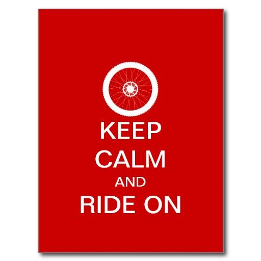 Keep calm and ride on post card