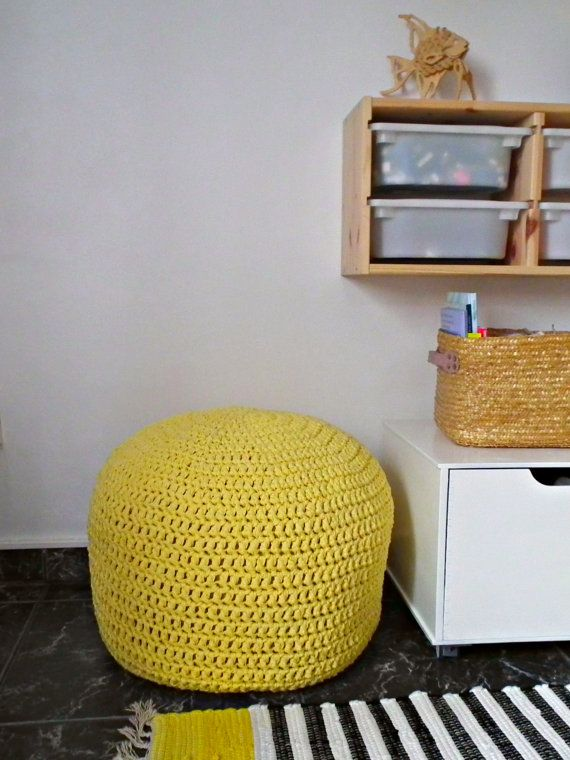Light Yellow Ottoman Pouf-Yellow Footstool Pouf-Nursery decor-Kids Knit Bean Bag  Pouf-Furniture Crochet Floor Cushions-Baby Shower Gifts