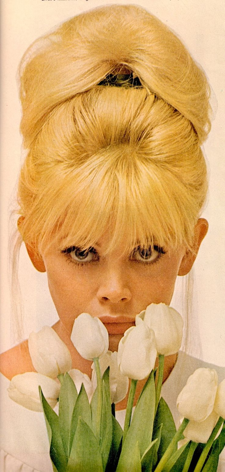 """BRITT EKLAND bouffant 60's do. """"There's something about a Blonde"""" article on blondes. From vintage Ladies Home Journal April 1966 (minkshmink)"""