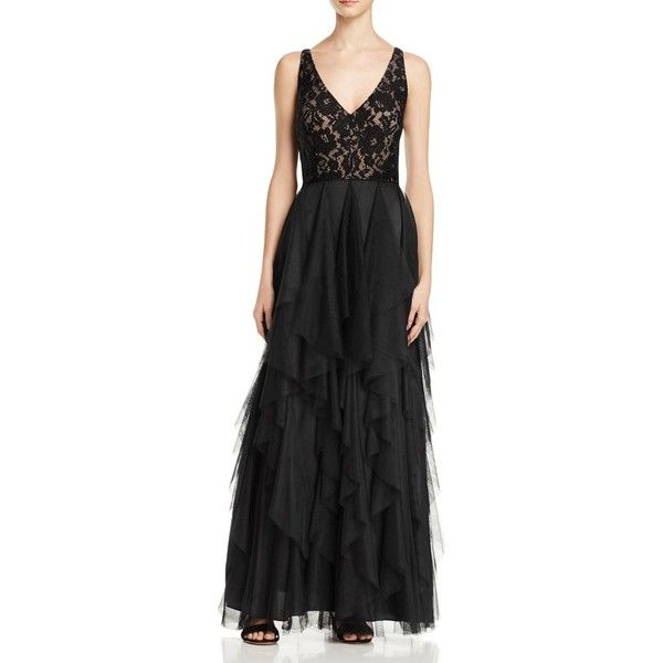 Aidan Mattox Sleeveless Double V Gown (550 CAD) ❤ liked on Polyvore featuring dresses, gowns, black, aidan mattox gown, sleeveless dress, sleeveless gown, aidan mattox and aidan mattox evening dresses