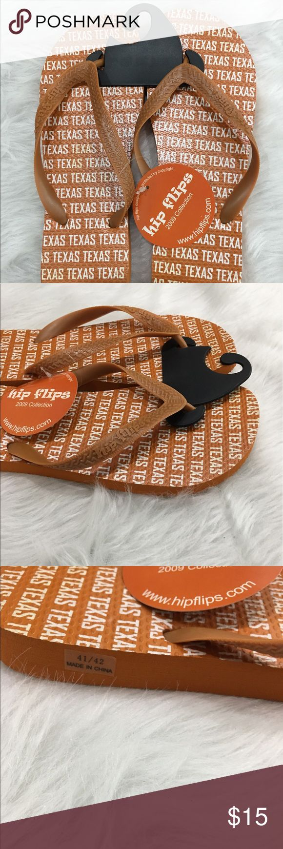 Hip flips university of Texas sandals NWT sz 10 Hip flips university of Texas Long horns flip flops size 10, they are new with tag. The shoes have Texas wording allover. They come from a smoke free home. hip flips Shoes Sandals & Flip-Flops