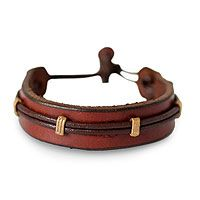 'Stand Alone in Brown' by NOVICA Men's leather wristband bracelet,