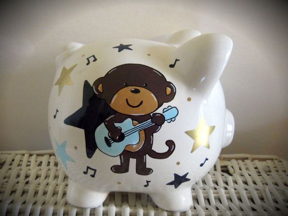 Personalized Hand Painted Piggy Bank With by thepaintedpiggy, $30.00  Get after child birth in girl or boy color
