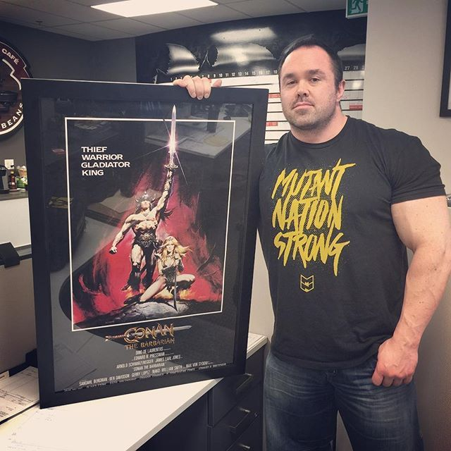 "Just doing some decorating around the office.  Can't go wrong with a poster of the movie that started it all for me.  Conan the Barbarian. ------------- ""Conan! What is best in life?"" ""To crush your enemies, see them driven before you, and to hear the lamentation of their women!"" #rep300 #threedecadesdeep #mutant #officespace #fancy #conan #arnold"