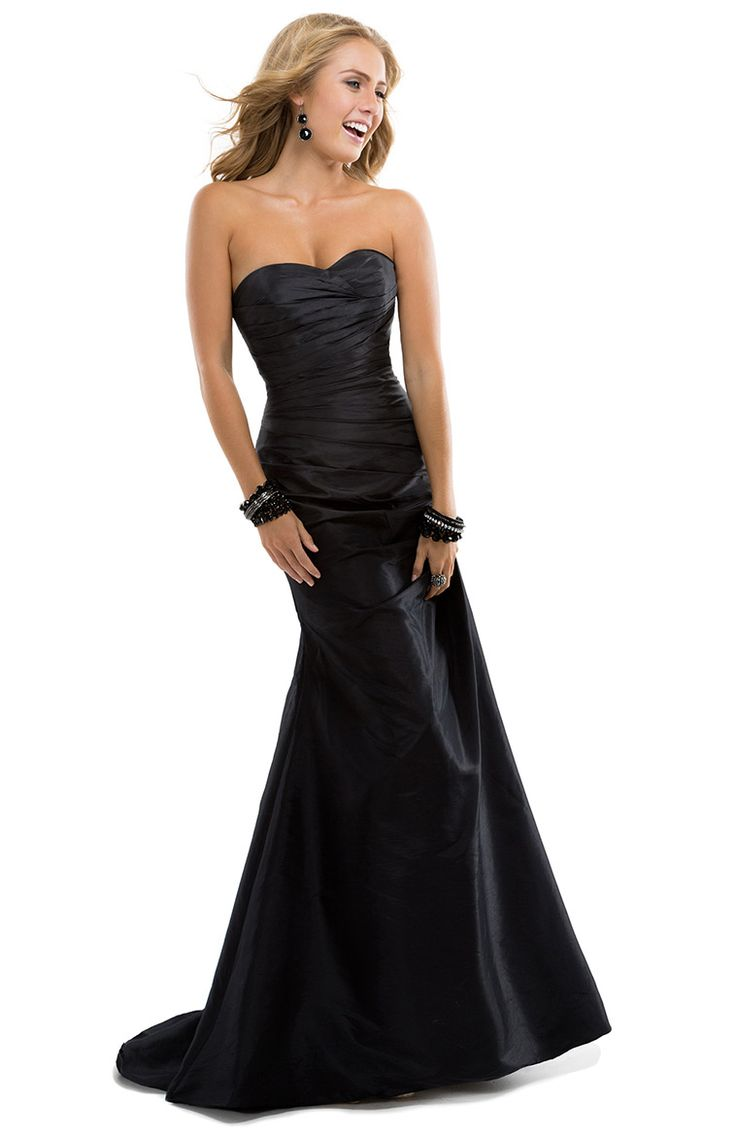 Simple A-line Sweetheart Draping Ruching Sweep/Brush Train Taffeta Evening Dresses