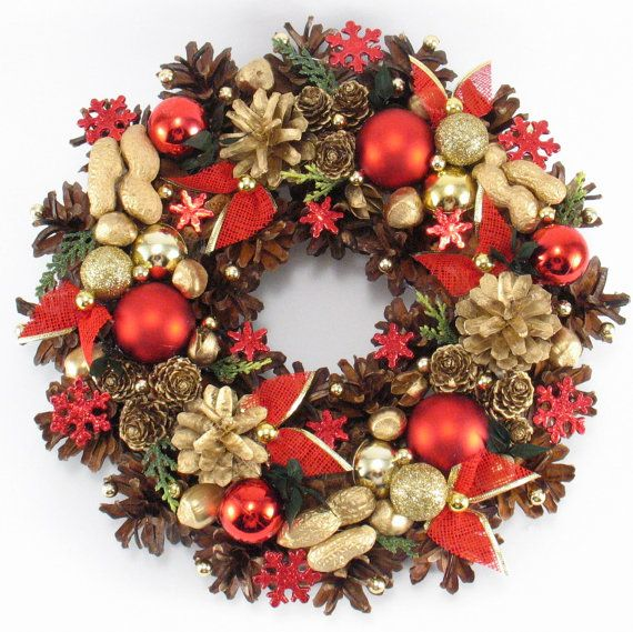 Holiday Wreath Christmas Wreath Pinecone Wreath by ZielonePalce